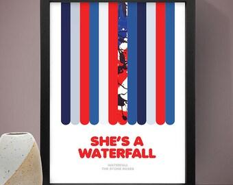 The Stone Roses - Waterfall Poster, Music Poster, Song Lyric Print, Song Lyrics