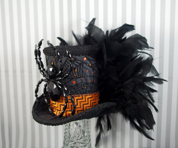 Black, Gray, and Orange Beaded Spider and Feather Halloween Large Mini Top Hat Fascinator, Alice in Wonderland, Mad Hatter Tea Party, Derby