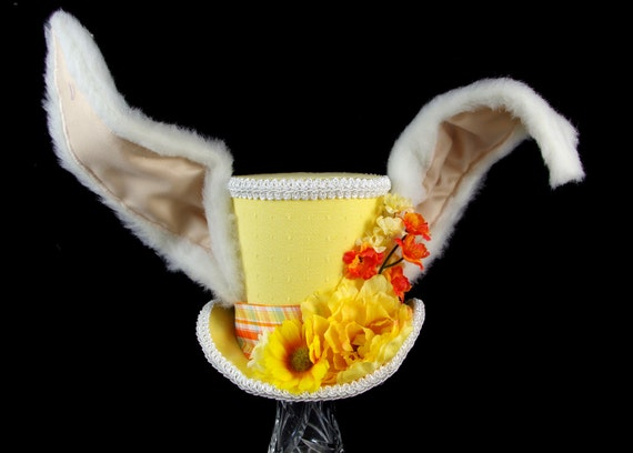 The White Rabbit - Yellow and Oranger Flower Garden Bunny Eared Large Mini Top Hat, Alice in Wonderland Mad Hatter Tea Party, Easter Hat
