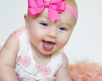 Pink Bow Headband, Pink Headband, Pink Hair Bow, Baby Headband, Baby Shower Gift, Newborn Headband, Newborn Photo Prop, Hot Pink Headband