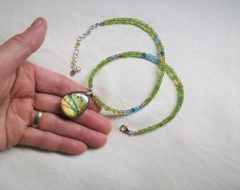 Labradorite, Spectrolite, Peridot, Apatite, Citrine, necklace, Sterling silver, Bali, Fine silver, Hill Tribe Silver, natural gemstone