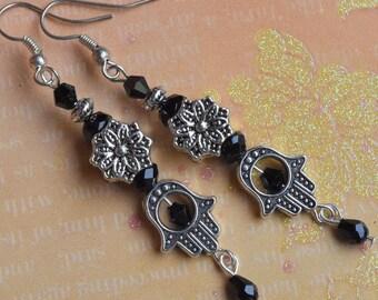 Hamsa earrings. Spiritual earrings. Kabbalah earrings. Evil eye earrings. Protection good luck earrings. Hamsa Lotus flower chakra earrings.