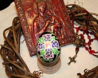 Cross and Flower Ukrainian Egg