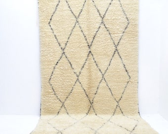 "Vintage BENI OURAIN 11'4"" x 6'2"" Moroccan Rug Oversized Diamond Lozenge Tasseled Mid Century Contemporary Modern Le Corbusier Eames"