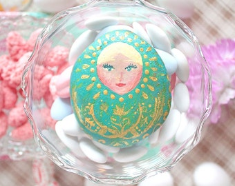 """Russian doll / matryoshka, work of art painted by hand, Clipboard / decoration / collection, mind Russian folklore / slave, model """"Vanina"""""""