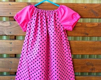 Girls Peasant Style Dress. Size 3. Spots.