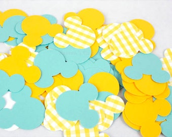 100 Blue, Yellow and Yellow Gingham Mickey Mouse Confetti, Mickey Mouse Die Cuts, Baby Mickey First Birthday Party, Mickey Mouse Baby Shower