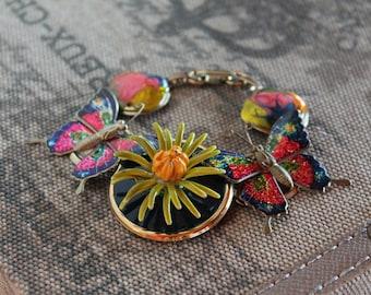 FANCY FLIGHT Vintage Bauble Bracelet Repurposed Butterflies Flower