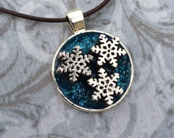 Snow Queen Elsa Inspired Glitter Snowflake Charm Necklace