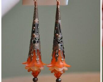 Apricot Flower drop Earrings