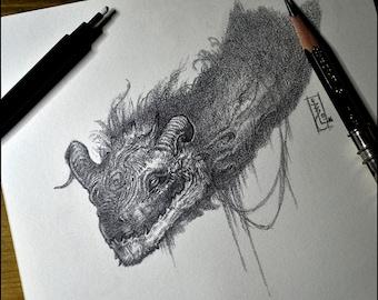 Dragon - Original drawing - Fantasy Art