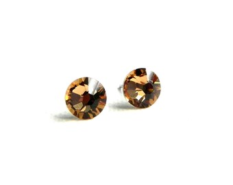 Swarovski Crystal Stud Earrings - Light Topaz