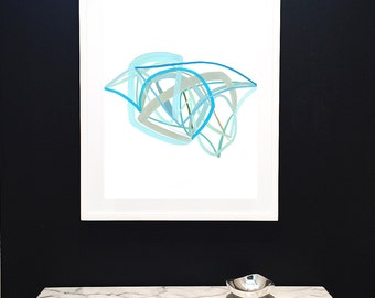 Original Painting-Air Drawing-Cerulean Blue-Sage-Minimalist-Lines-Graphic-Modern Art-Fine Art-Abstract-Coastal-Water-Beach-Seafoam-Summer