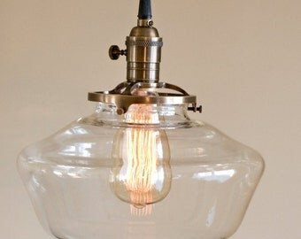 Clear Glass Globe Schoolhouse Pendant Light Fixture