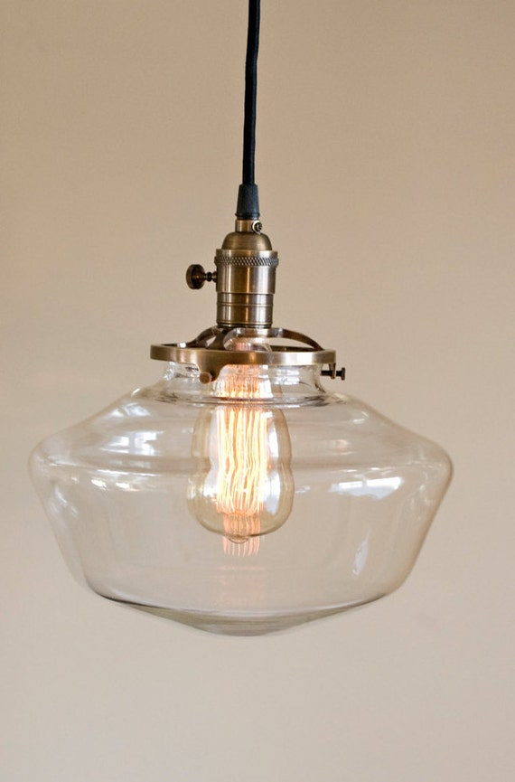clear glass globe schoolhouse pendant light fixture. Black Bedroom Furniture Sets. Home Design Ideas