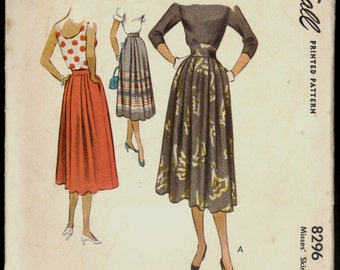 1950s Waist 28 Pleated Skirt McCalls 8296 Vintage Sewing Pattern Retro Classic 50s