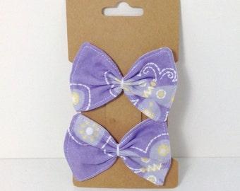 Handmade Purple Lavender Fabric Bow Hair Clips {Set of 2}