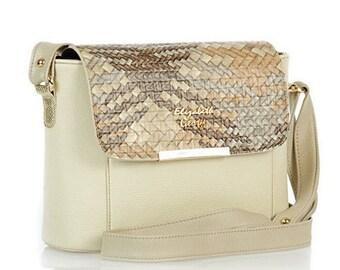 Beige Leather Purse, Leather Shoulder Bag, Women Handbag, Vegan Leather, Gift