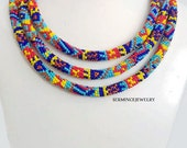 30 % Sale - 64.96 inch. Geometric Extra Long Beaded Rope Necklace , Free shıppıng - Bead crochet necklace - African st