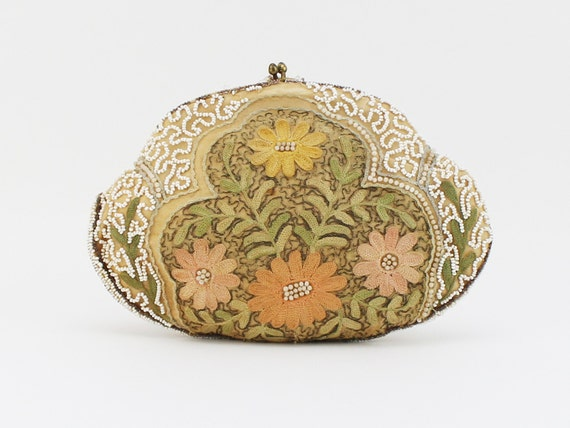 S embroidered floral beaded clutch vintage