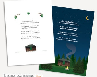 2 Digital Cabin Camping Cards and Posters