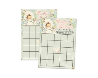 "Digital Vintage Baby Shower Bingo Cards/ neutral colors /  5"" by 7"" / instant download / printable, downloadable / baby shower game"