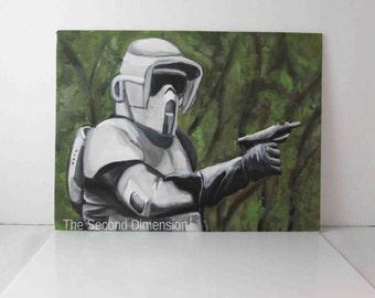 "Star Wars Scout Trooper Art Acrylics On Flat Canvas Sci-Fi 12"" x 9"""