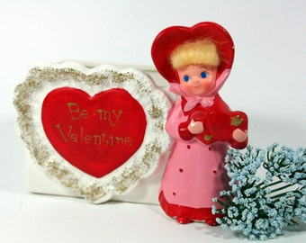 Napcoware Valentine planter-girl in red and pink- yellow fuzzy hair