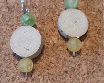Wine Cork Dangling Earrings With Green and Yellow Beads