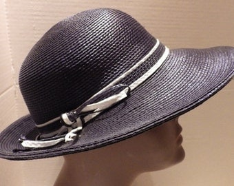 1960s  Straw Hat Designed by Sylvia Navy  White Stripe Band Wide Brim 21""