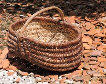 French Wicker Basket - Vintage Country Basket - Old Shopping  Market Basket - French Garden Harvest Woven Wicker Basket Farmhouse Furniture