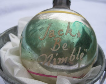 Vintage Shiny Brite Jack Be Nimble Nursery Rhyme Silver with Green Middle Yellow and Pink Stripes Stencil Christmas Ornament 1950s