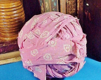 Antique c 1920 Cotton Calico Rag Ball, Pink Fabric, Large Size, Primitive