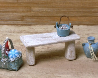 Miniature Drifted Wood Beach Bench for Your Dollhouse
