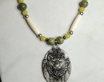 Bone Necklace with Pewter Native American Bear
