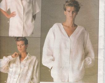 Vogue American Designer Calvin Klein 1509  Misses' Shirt  Size 8  UNCUT