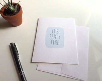 It's Party Time | Pastel Blue Birthday Card | Blank Inside