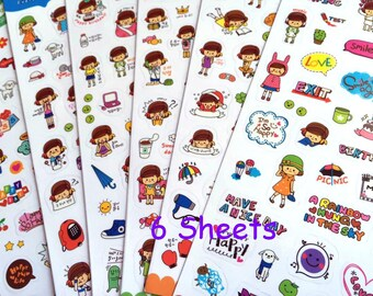 everyday sticker daily planner sticker girl diary sticker kawaii cartoon girl wording sticker cute girl planner sticker set student gift