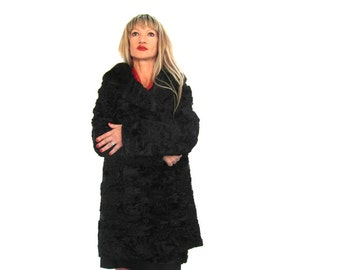 Genuine 50's black fur coat, real Persian lamb, mink fur collar, swing coat,  size L / XL, French vintage, vintage clothing.
