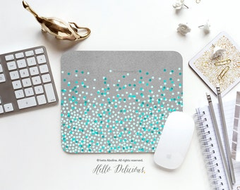 Mouse Pad Mint Polka Dots Print Mousepad Teal Polka Dots Mouse Mat Polka Mouse Pad Office Mousemat Rectangular Mousemat Mousepad Round 49.