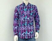 Vintage 80s Roper Mens Western Shirt, South Western Shirt, Cowboy Shirt, Colorful Shirt, Rodeo Shirt, Long Sleeve Shirt Size S