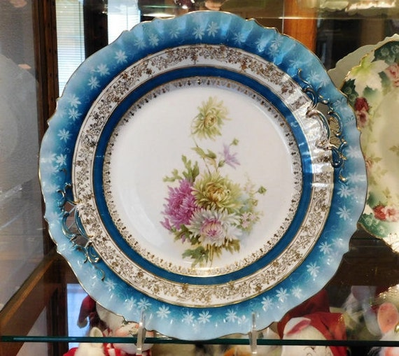 "RS Prussia Charger Cake Plate 11""  Large Antique Victorian Porcelain 1900s Germany German Chrysanthemums Mums Flowers Floral Home Decor"