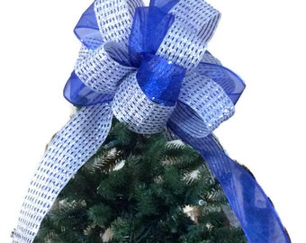 Christmas Tree Topper Bow/ Blue and Silver Christmas Tree Topper/ Blue & Silver Christmas Bow/ Blue Christmas Tree Bow/ Tree Topper Bow Blue