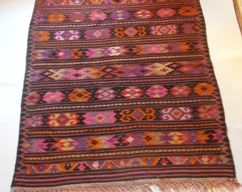 old handwoven kilim rug, wool on wool  270x160cm, 106x63inches