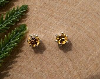 Golden Yellow Sapphire Sterling Silver Earrings