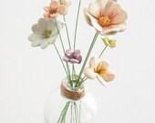 Ceramic flowers - 10 mixed  handmade teeny tiny baby  pottery clay flowers and vase