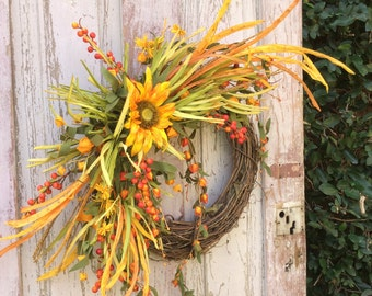 Fall Sunflower Wreath, Fall wreath, Rustic fall wreath, Fall wreath for door, fall double door wreath Fall front door wreath, Harvest wreath