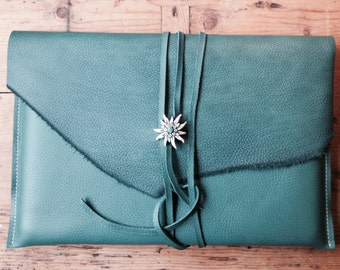 MacBook 13 inch Laptop Sleeve Turquoise! Leather-Leather Sleeve Turquoise for MacBook 13 inch-I Pad cover-I Pad Sleeve