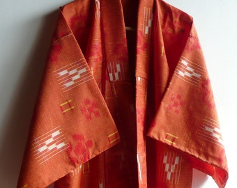 Japanese vintage kimono - cold weather casual - wool ikat - orange - plum blossom - WhatsForPudding #886