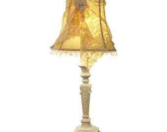 Shabby Chic Table Lamp, Romantic Lace Lampshade with Vintage Metal Lamp Base